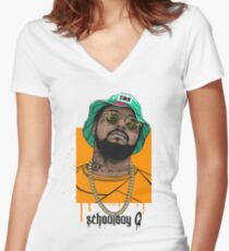 Schoolboy Q lifestyle Women's Fitted V-Neck T-Shirt