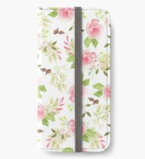 Pink green watercolor romantic roses floral pattern iPhone Wallet