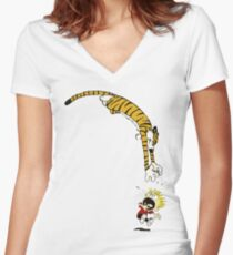 calvin hobbes Women's Fitted V-Neck T-Shirt