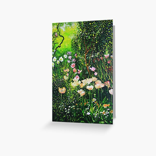 Spring Tulip Flowers in Cottage Garden Greeting Card
