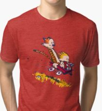 calvin and hobbes race Tri-blend T-Shirt