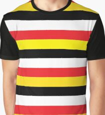 Red, Yellow, Black & White Stripes Graphic T-Shirt