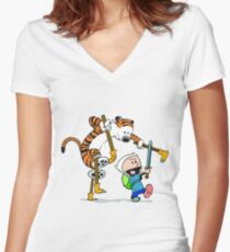 calvin and hobbes play Women's Fitted V-Neck T-Shirt