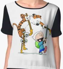 calvin and hobbes play Women's Chiffon Top