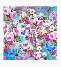 Vintage colorful butterflies girly floral pattern Photographic Print