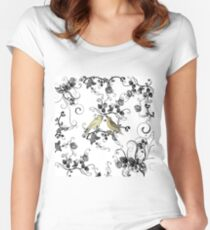 Chic vintage yellow birds black white roses Women's Fitted Scoop T-Shirt