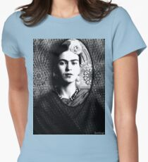 Frida Kahlo and Shadow Portrait (Ver 3.1) Womens Fitted T-Shirt