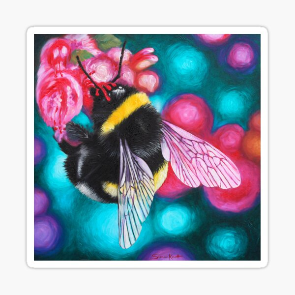 Bumblebee and Pink Summer Flower Sticker