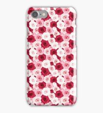Stylish romantic trendy red pink roses floral iPhone Case/Skin