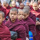 Myanmar. Amarapura. Mahāgandhāyon Monastery. Monks' lunch procession. by vadim19