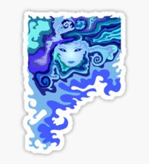 Illustration of a beautiful unusual abstract girl face Sticker