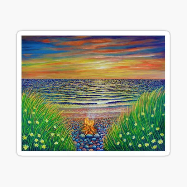 Beach Fire with red sunset on the Sea Sticker