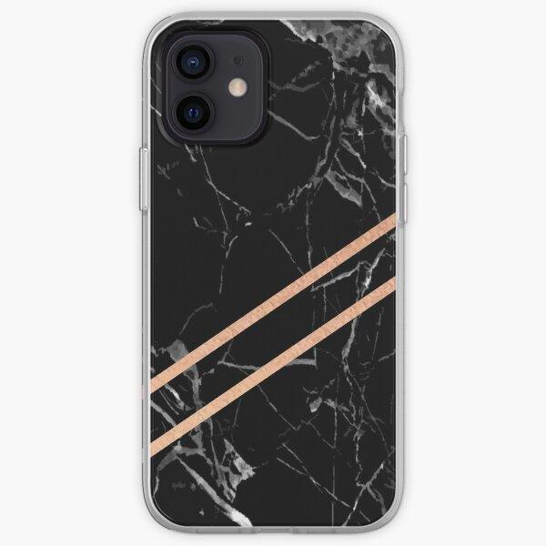 Black Marble & Rose Gold  iPhone Soft Case