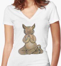 Gato Yogui Camiseta entallada de cuello en V