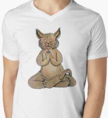 Gato Yogui Camiseta para hombre de cuello en v