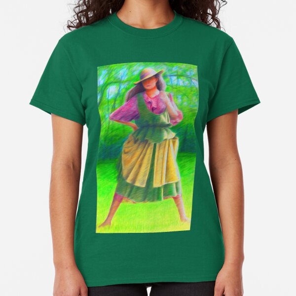 Spring Country Lady wearing straw hat  Classic T-Shirt