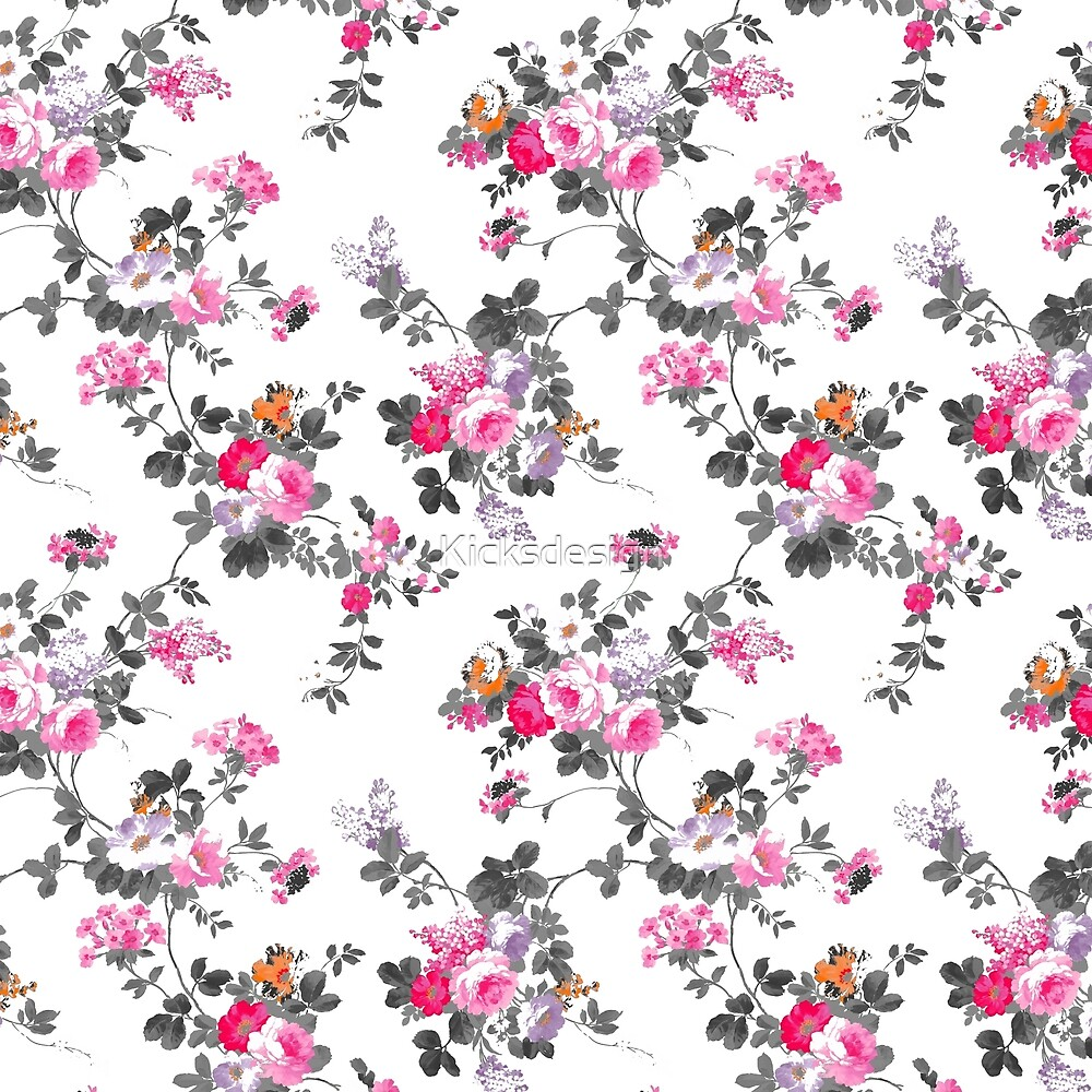 Girly chic pink gray orange floral pattern by Maria Fernandes