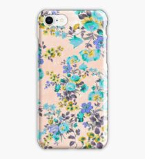 Vintage aqua yellow gray floral pattern iPhone Case/Skin