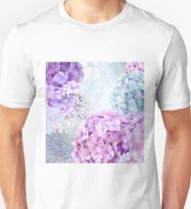 Blue and Purple Pastel Flower Hydrangea Spring Collage Pattern T-Shirt