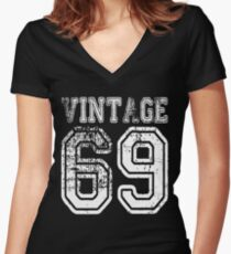 Vintage 69 2069 1969 T-shirt Birthday Gift Age Year Old Boy Girl Cute Funny Man Woman Jersey Style Women's Fitted V-Neck T-Shirt