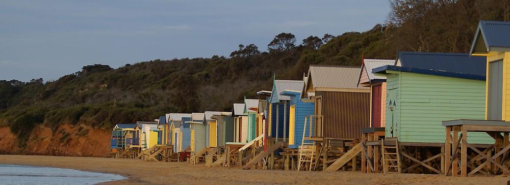 Beach Boxes At Mount Martha by Kim Doyle