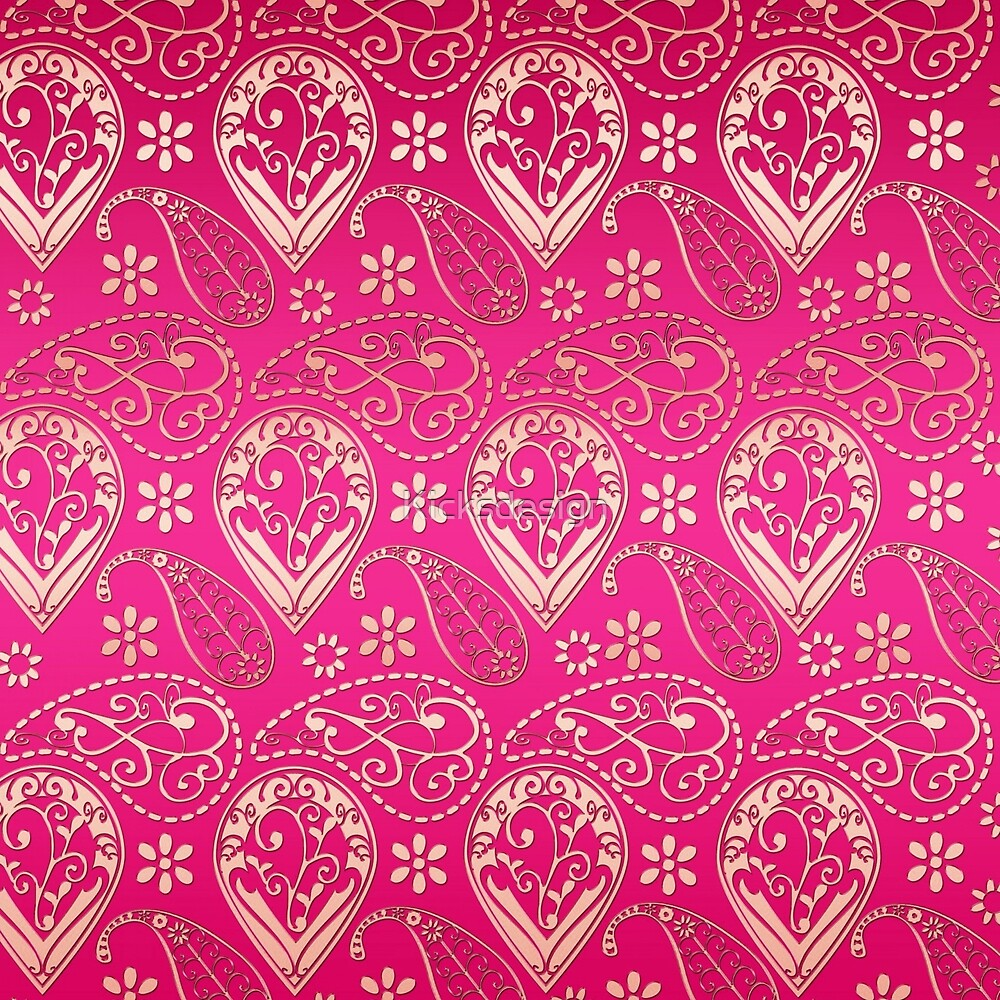 Chic girly pink gold floral paisley pattern by Maria Fernandes