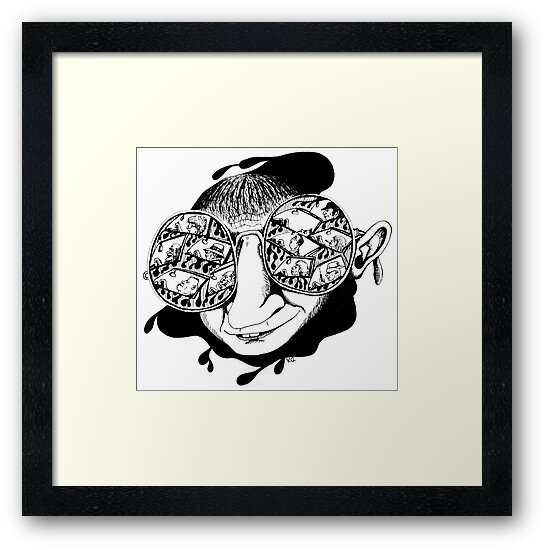New York City drivers black and white pen ink surreal drawing by Vitaliy Gonikman