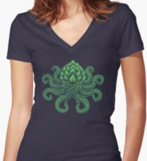 Hoptopus Women's Fitted V-Neck T-Shirt