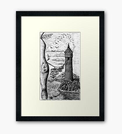 Circle of life black and white surreal drawing art Framed Print
