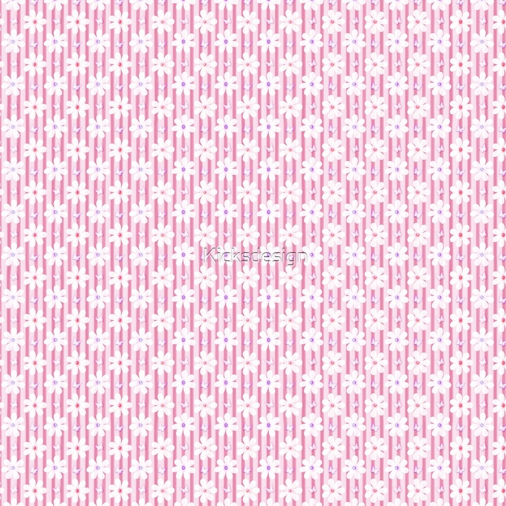 Girly pink white vintage stripes floral pattern by Maria Fernandes