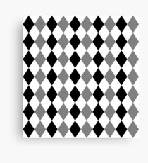 Grey, black, white, rhombus pattern, geometric theme design Canvas Print