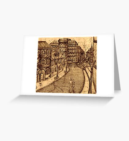 Old Odessa city black and white pen ink drawing Greeting Card