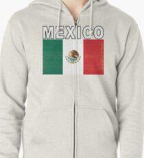 Mexico Distressed Flag Retro Soccer Tee Zipped Hoodie