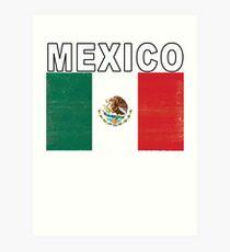 Mexico Distressed Flag Retro Soccer Tee Art Print