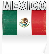 Mexico Distressed Flag Retro Soccer Tee Poster