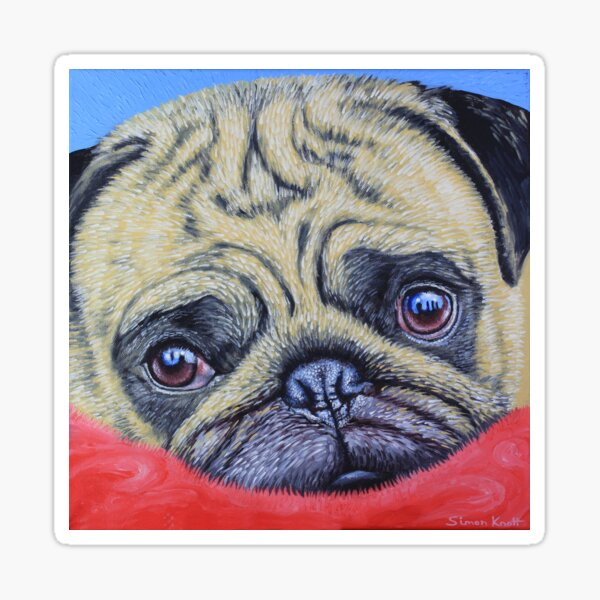 Pug on a Red Rug  Sticker