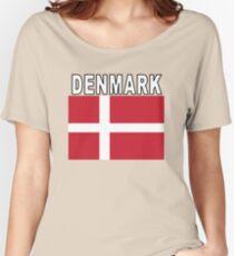 Denmark Flag Style Soccer Tee Women's Relaxed Fit T-Shirt