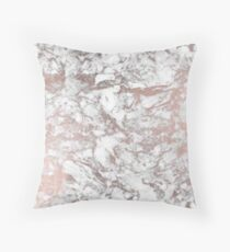 Elegant white faux rose gold modern marble Throw Pillow