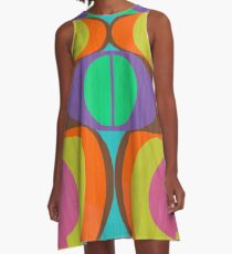 Mod Eyes In The Wood Psychedelic Design A-Line Dress