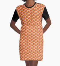 Mermaid Scales (Orange) Graphic T-Shirt Dress