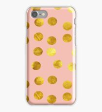 Gold and pink dots iPhone Case/Skin