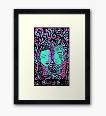 beautiful girl face and guy on a background of leaves, psychedelic bright neon colors on a black background Framed Print