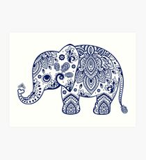 Blue Floral Elephant Illustration Art Print