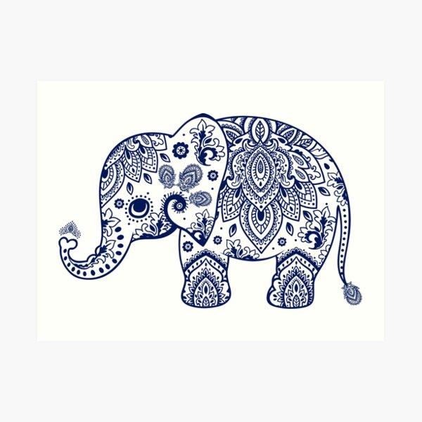 Blue Floral Elephant Illustration Art Print