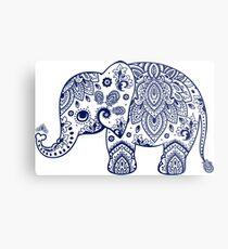 Lienzo metálico Ilustración azul elefante floral
