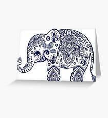 Blue Floral Elephant Illustration Greeting Card