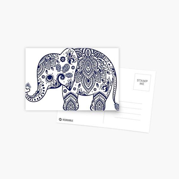 Blue Floral Elephant Illustration Postcard