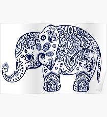 Blue Floral Elephant Illustration Poster