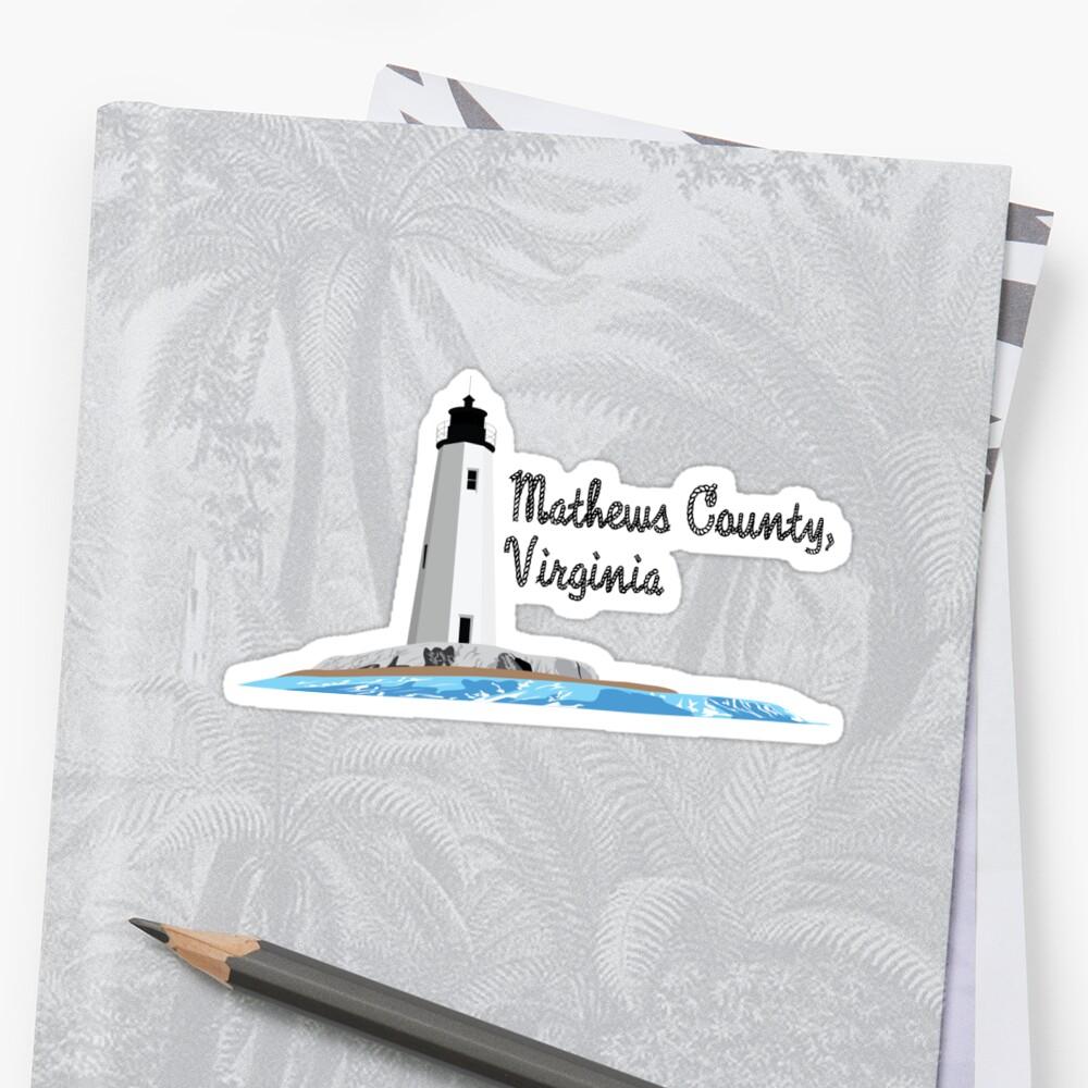 Mathews County, VA - New Point Comfort Lighthouse Sticker