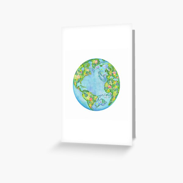Floral Earth Greeting Card